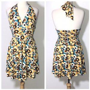 Julie JB Brown Halter Geometric Print Dress